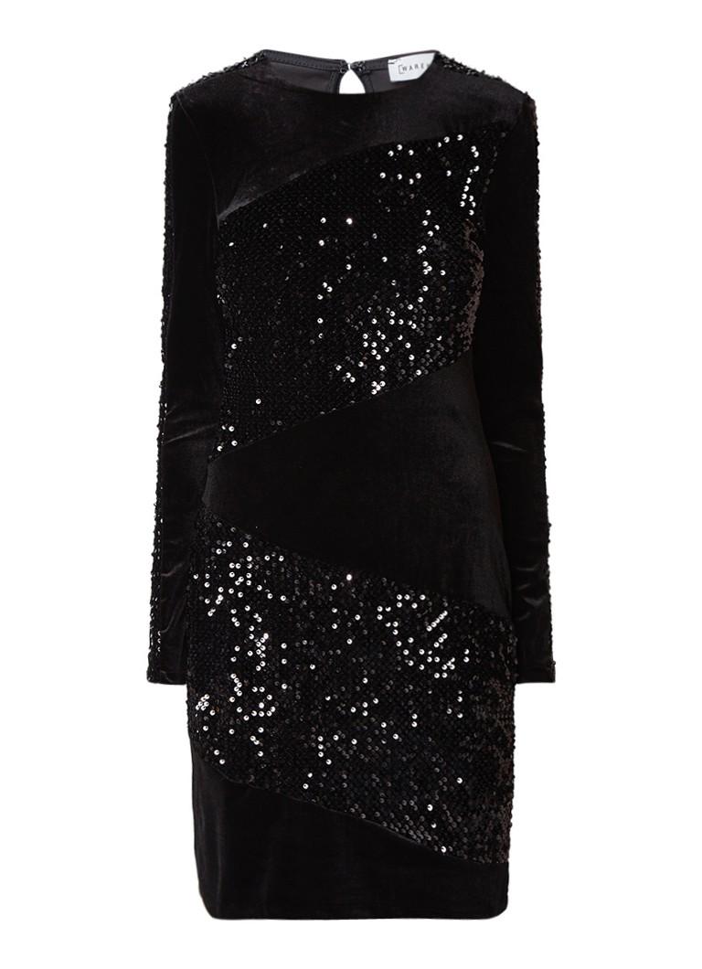 Warehouse Mini-jurk van fluweel met pailletten diepzwart