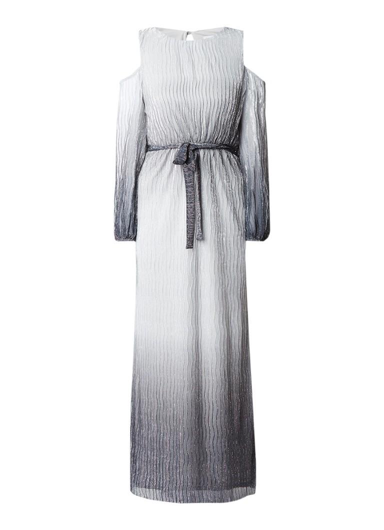 Warehouse Cold shoulder jurk met ombré en glans zilver