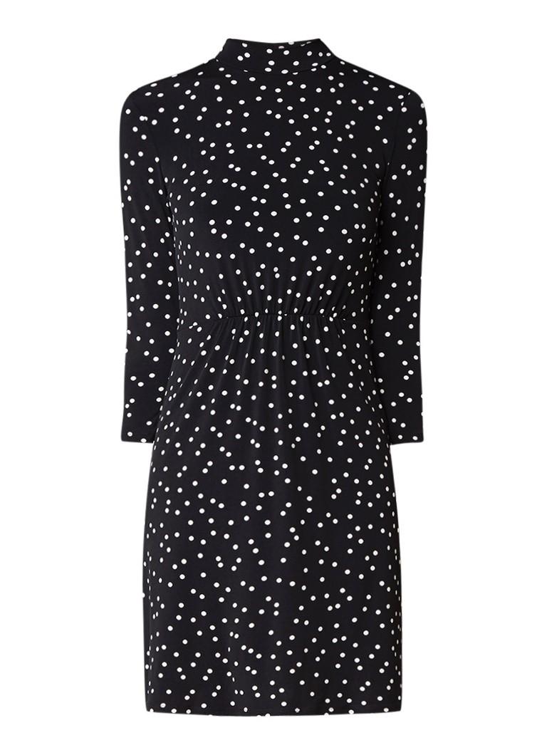 Warehouse Jersey A-lijn jurk met stippendessin en subtiele col diepzwart