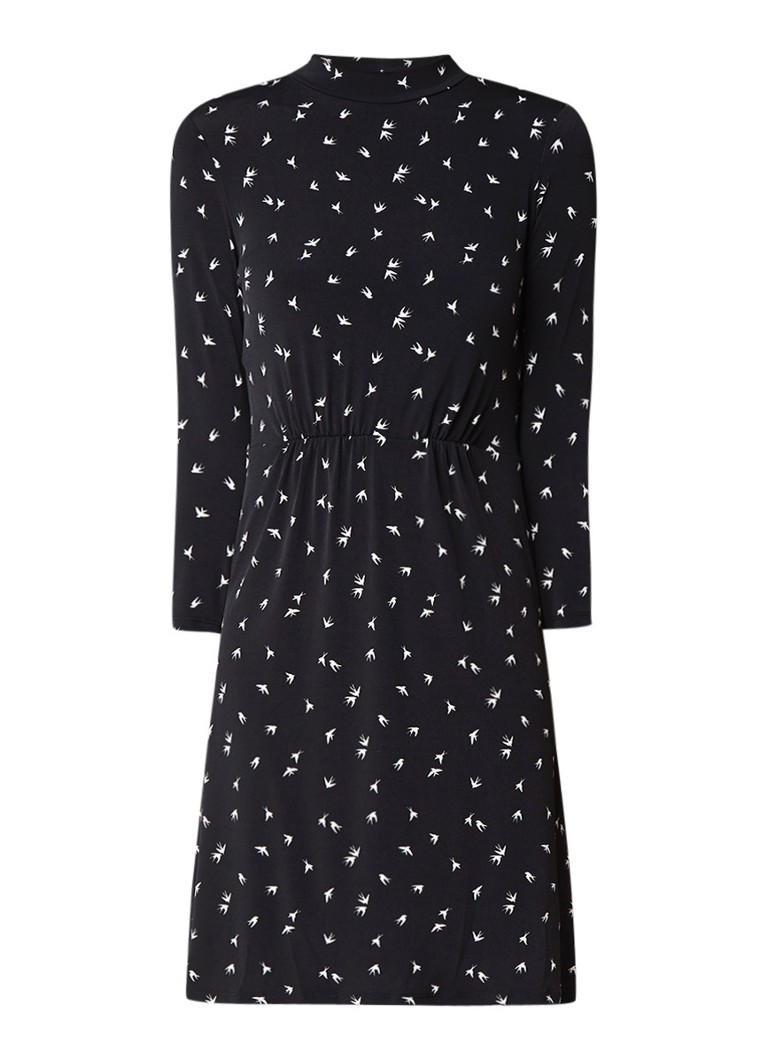 Warehouse Jersey A-lijn jurk met vogelprint en subtiele col zwart