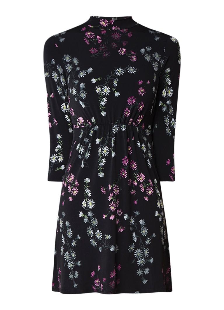 Warehouse A-lijn jurk met bloemendessin en subtiele col zwart