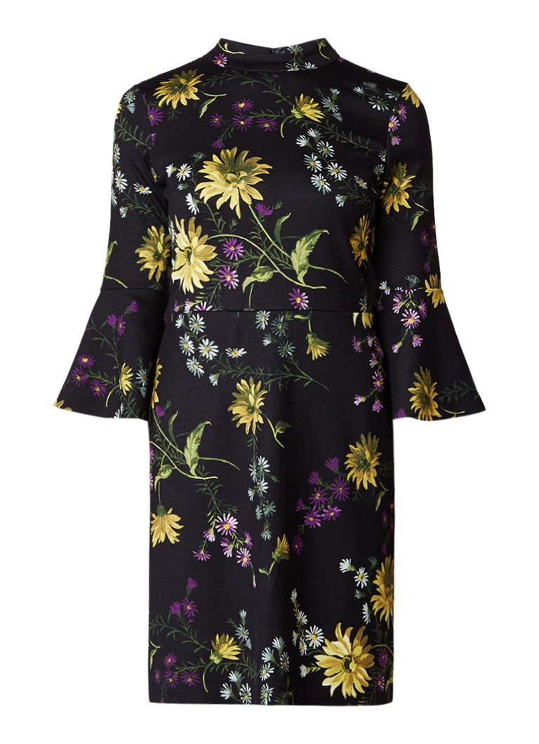 Warehouse Mini-jurk met klokkende mouw en bloemendessin zwart