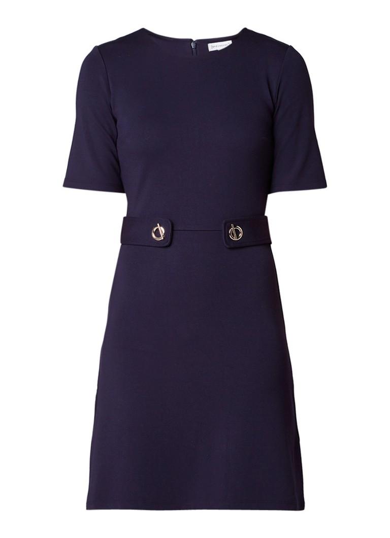 Warehouse Jersey midi-jurk met gespdetail donkerblauw