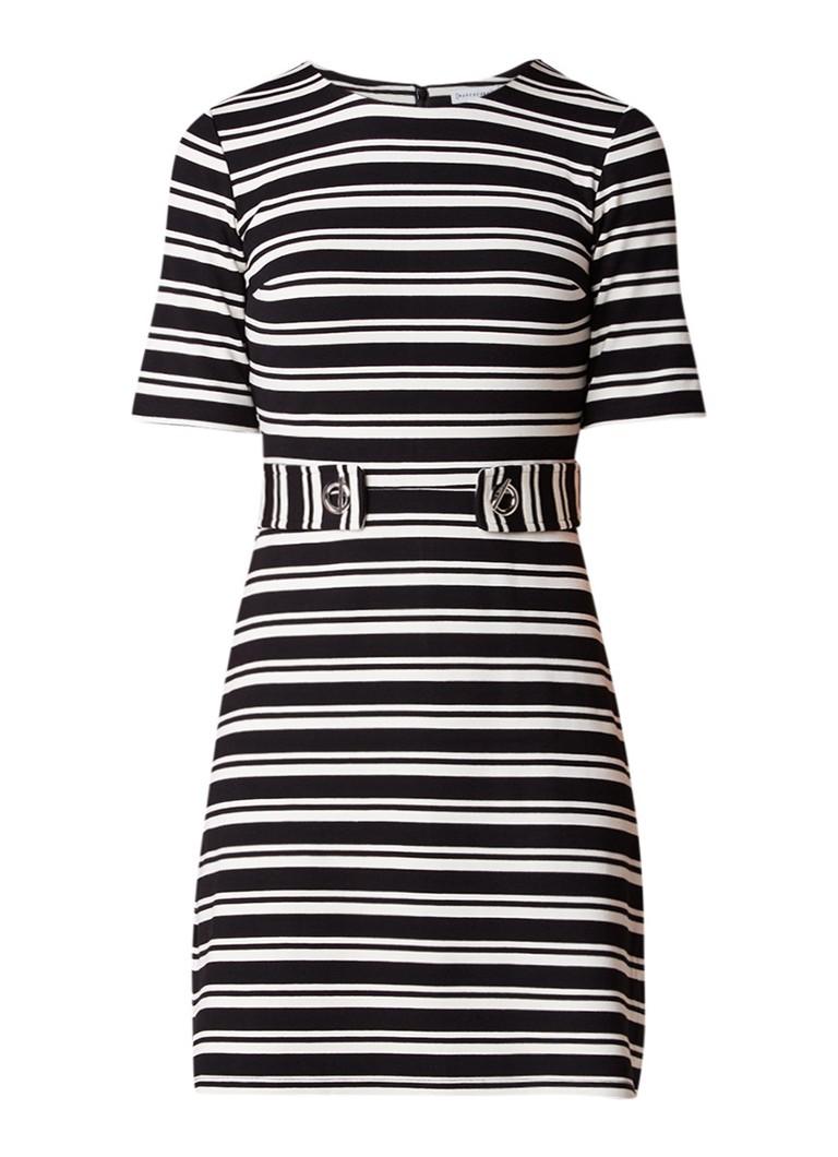 Warehouse Jersey midi-jurk met gespdetail en streepdessin zwart