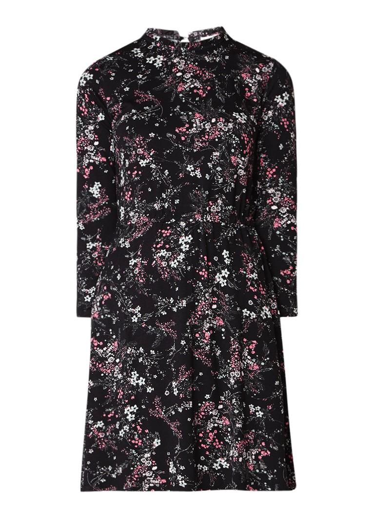 Warehouse A-lijn jurk van jersey met bloemenprint zwart