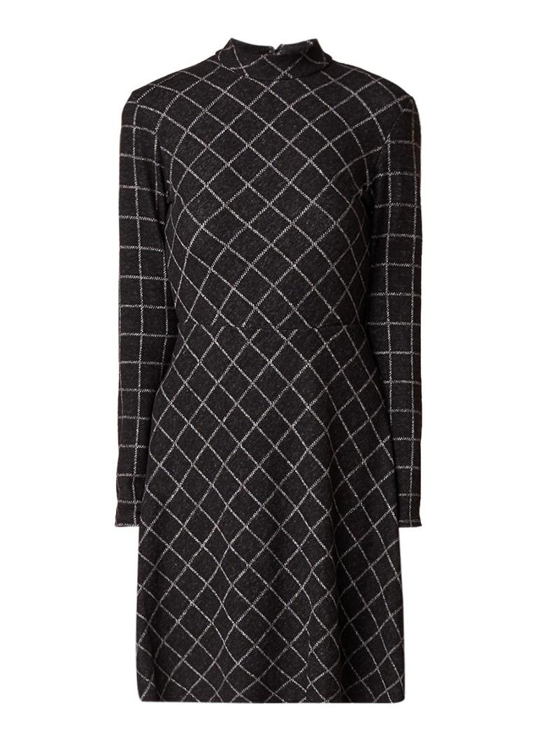 Warehouse A-lijn jurk met ruitdessin grijs