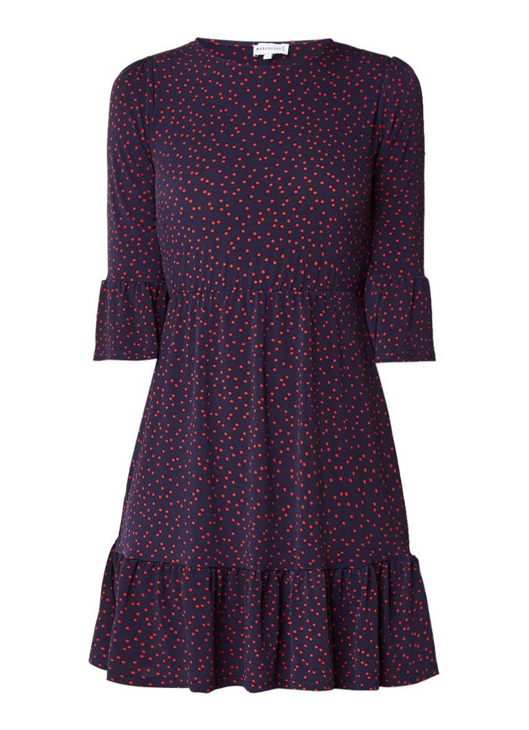 Warehouse Jersey A-lijn jurk met polkadots donkerblauw