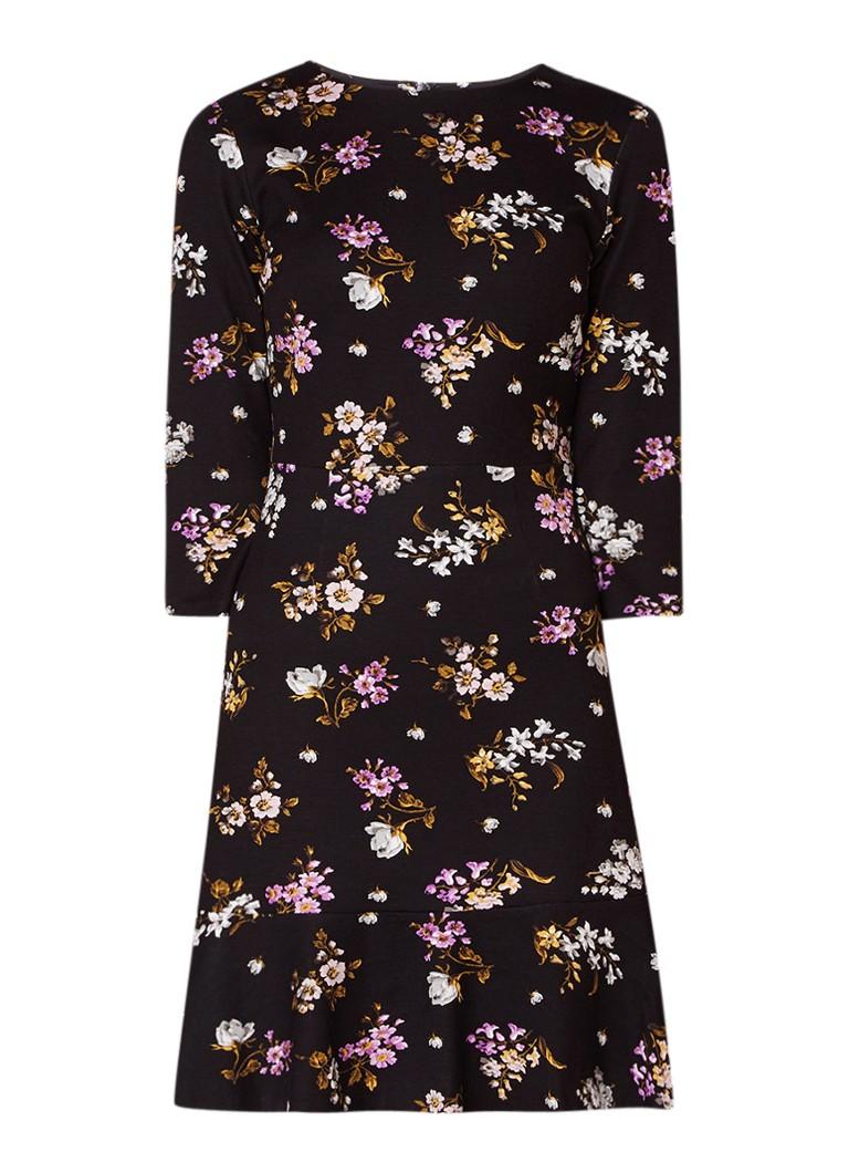 Warehouse Molly A-lijn jurk met bloemendessin en volant zwart