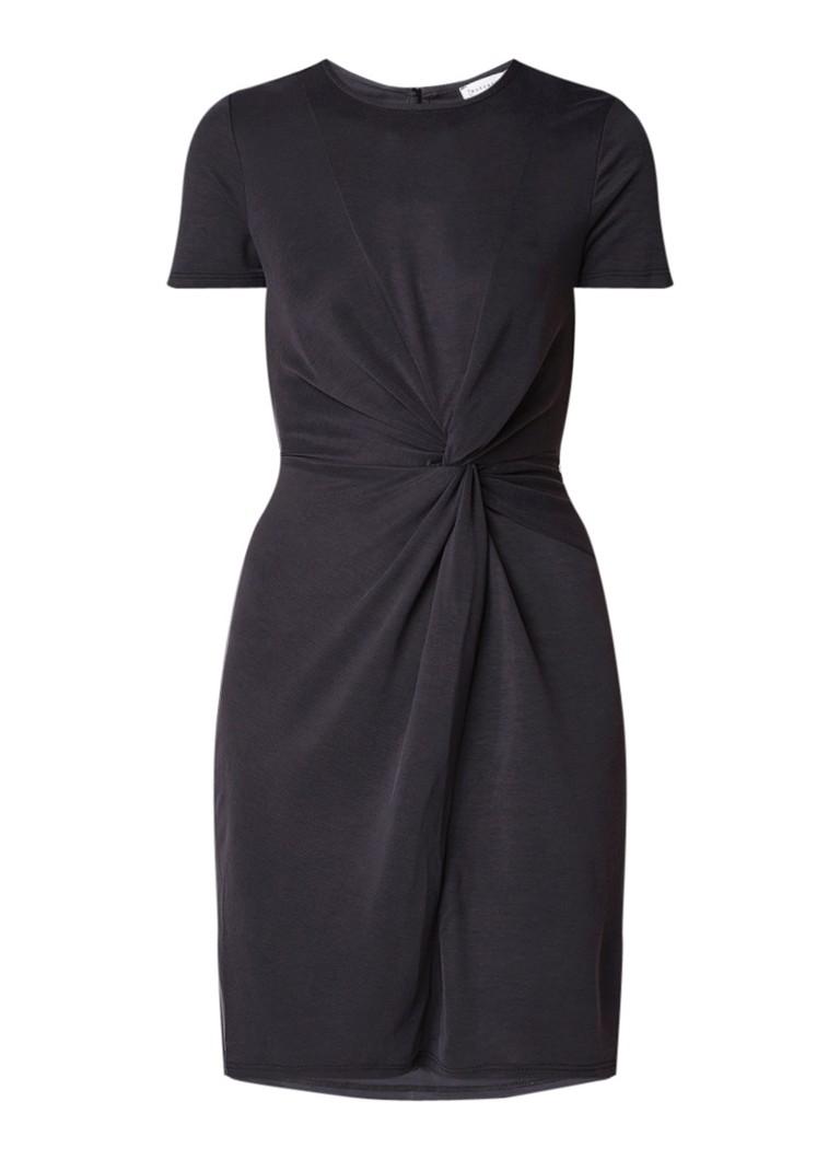 Warehouse A-lijn jurk van jersey met geknoopt detail zwart
