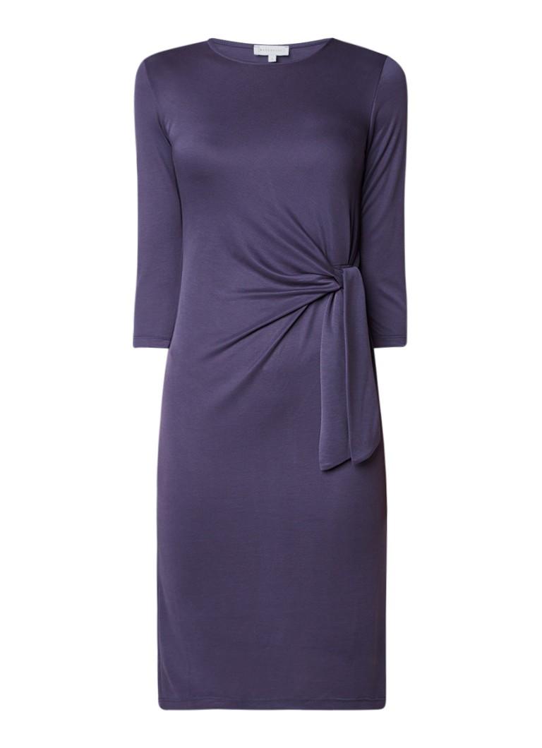 Warehouse Midi-jurk van jersey met strikdetail staalblauw