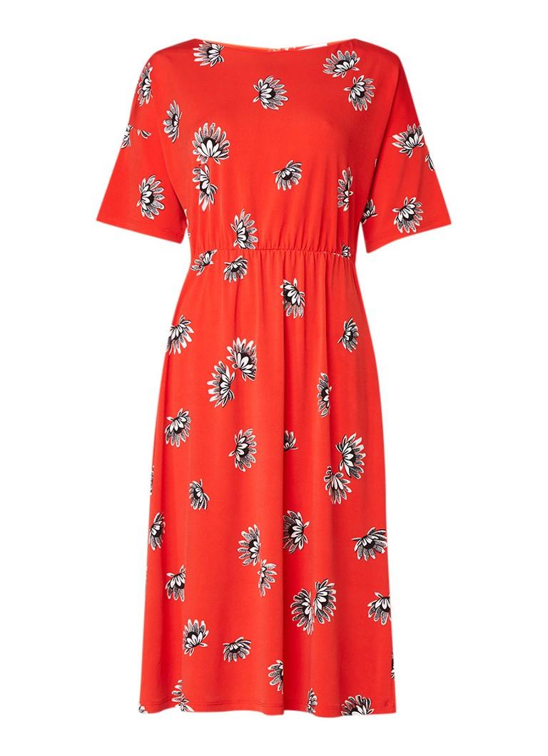 Warehouse A-lijn jurk van jersey met bloemendessin oranjerood