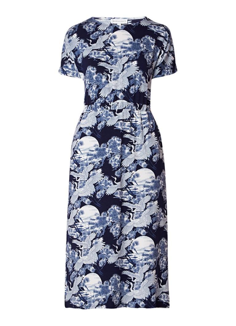 Warehouse Jersey midi-jurk met vogeldessin en steekzak middenblauw