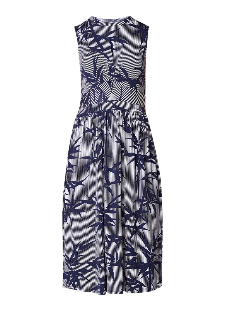 Warehouse A-lijn jurk van jersey met streepdessin en cut-out detail donkerblauw