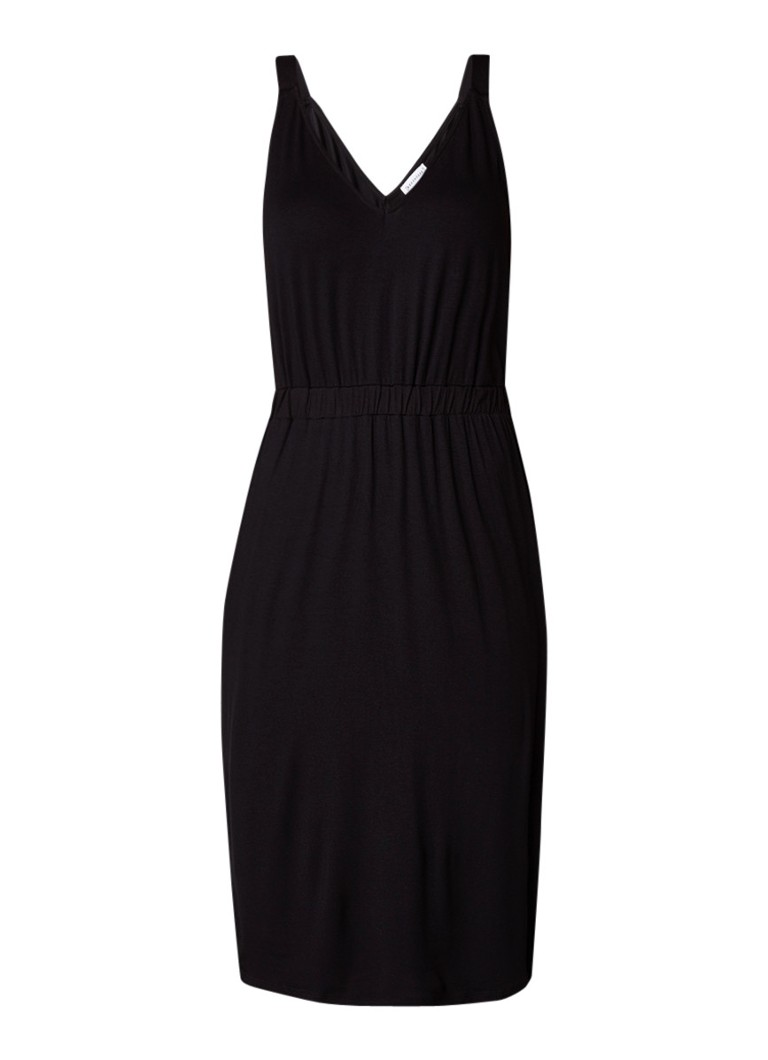 Warehouse Jersey jurk met V-hals rood