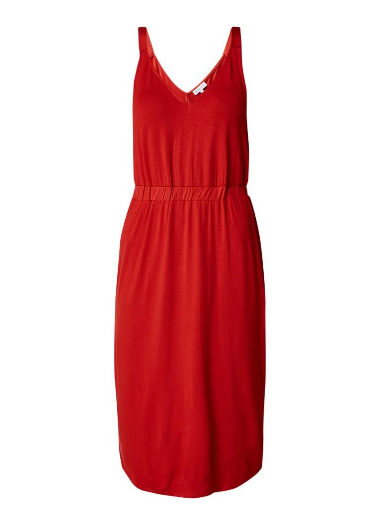 Warehouse Jersey jurk met V-hals diepzwart