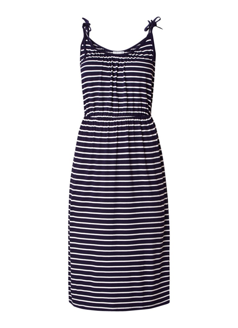 Warehouse Jersey jurk met strikbandjes en streepdessin donkerblauw