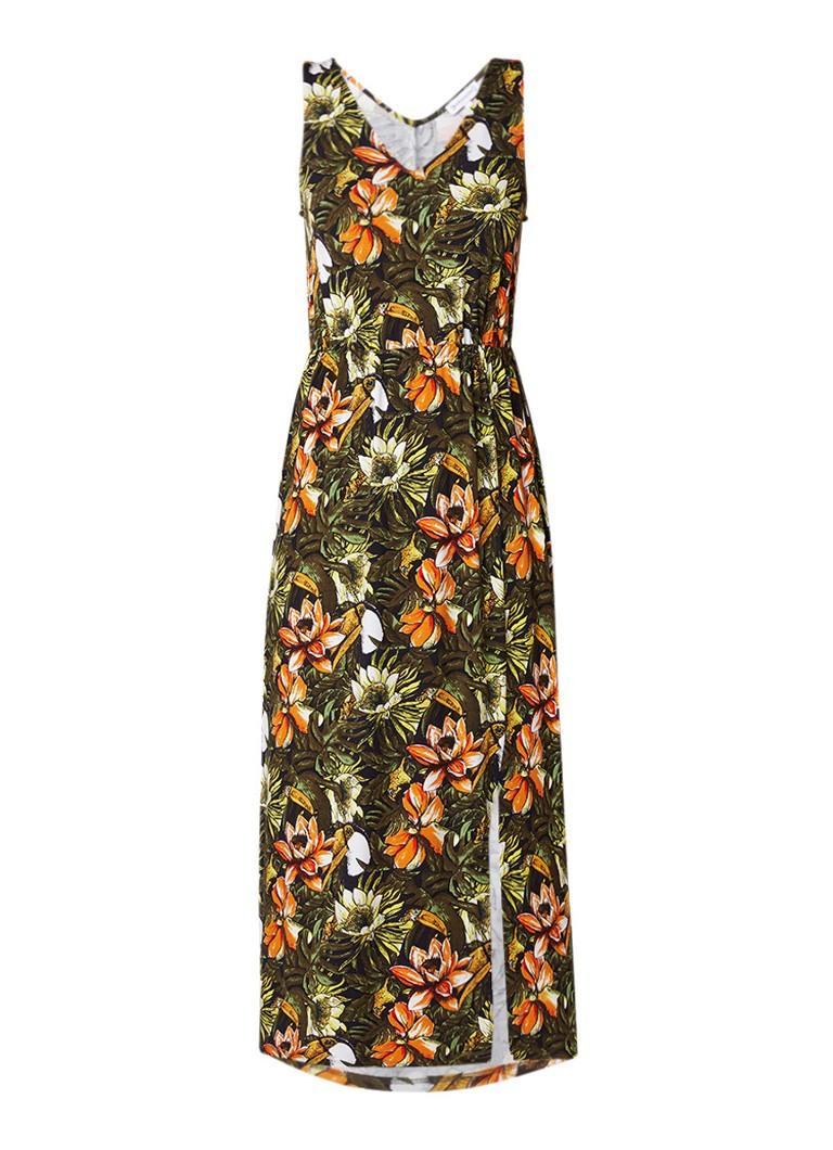 Warehouse Mouwloze maxi-jurk van jersey met bloemendessin groen