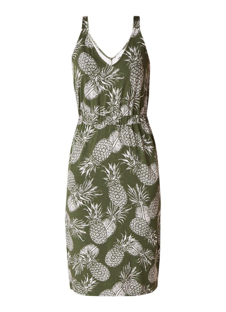 Warehouse Midi-jurk van jersey met ananasdessin donkergroen