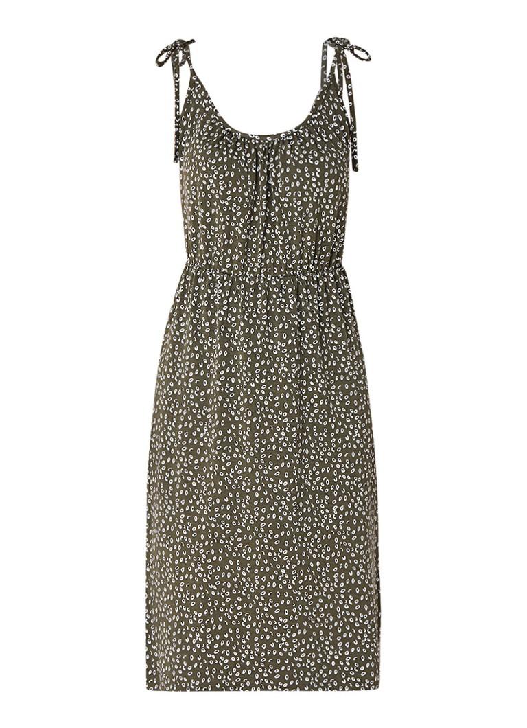 Warehouse Jersey midi-jurk met bloemendessin khaki