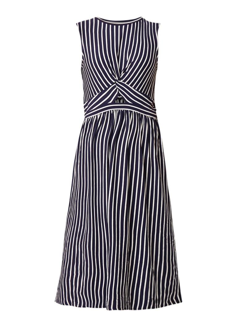 Warehouse Midi-jurk met streepdessin en knoopdetail donkerblauw