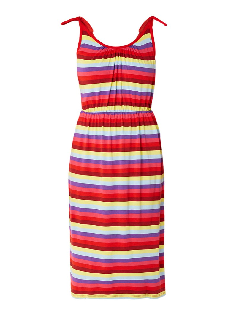 Warehouse Midi-jurk van jersey met kleurrijk streepdessin multicolor