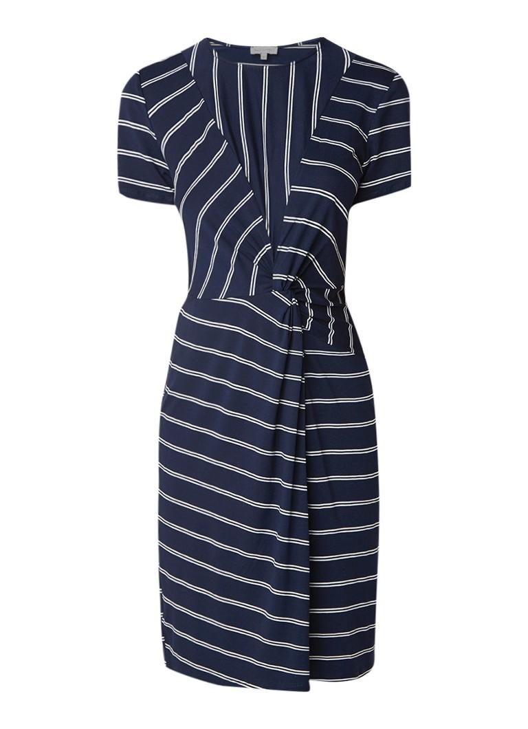 Warehouse Twist jurk met knoopdetail en streepdessin middenblauw