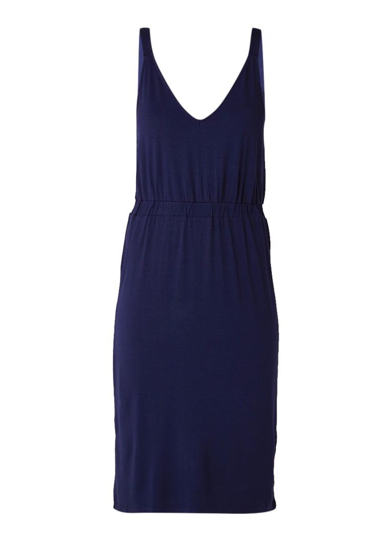 Warehouse Cami midi-jurk van jersey met V-hals donkerblauw