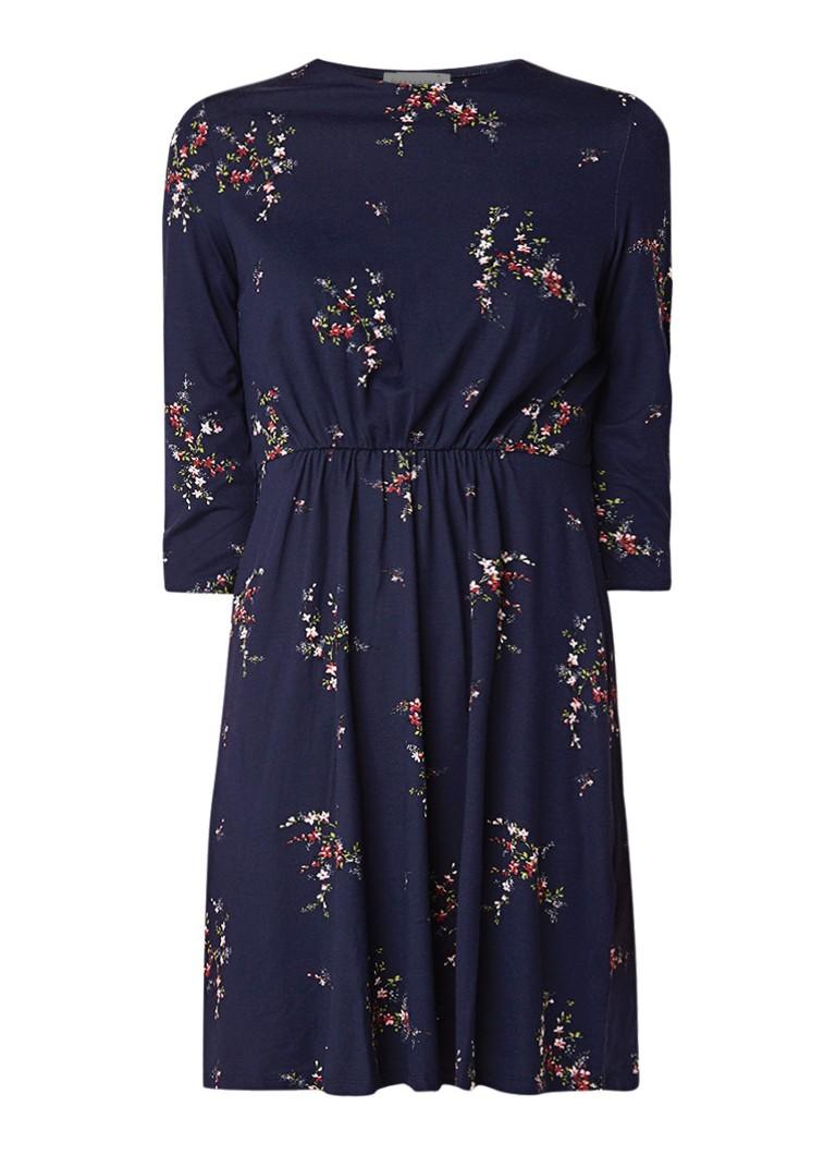 Warehouse Midi-jurk van jersey met bloemendessin donkerblauw