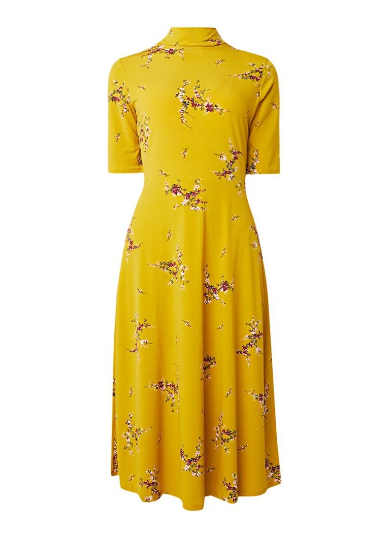 Warehouse Midi-jurk met bloemendessin en rugdecolleté donkergeel