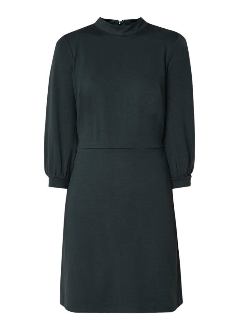 Warehouse A-lijn jurk met opstaande halslijn en driekwart mouw donkergroen