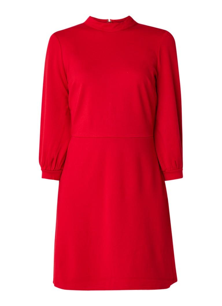 Warehouse A-lijn jurk met opstaande halslijn en driekwart mouw donkerrood