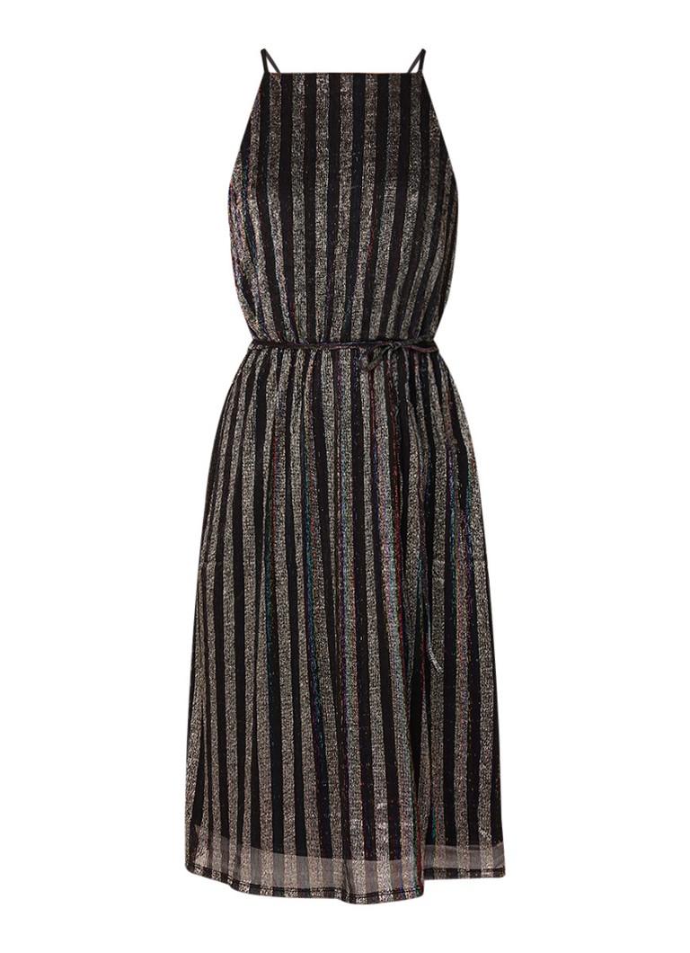 Warehouse Mouwloze A-lijn jurk met glansdraad en streepdessin zwart