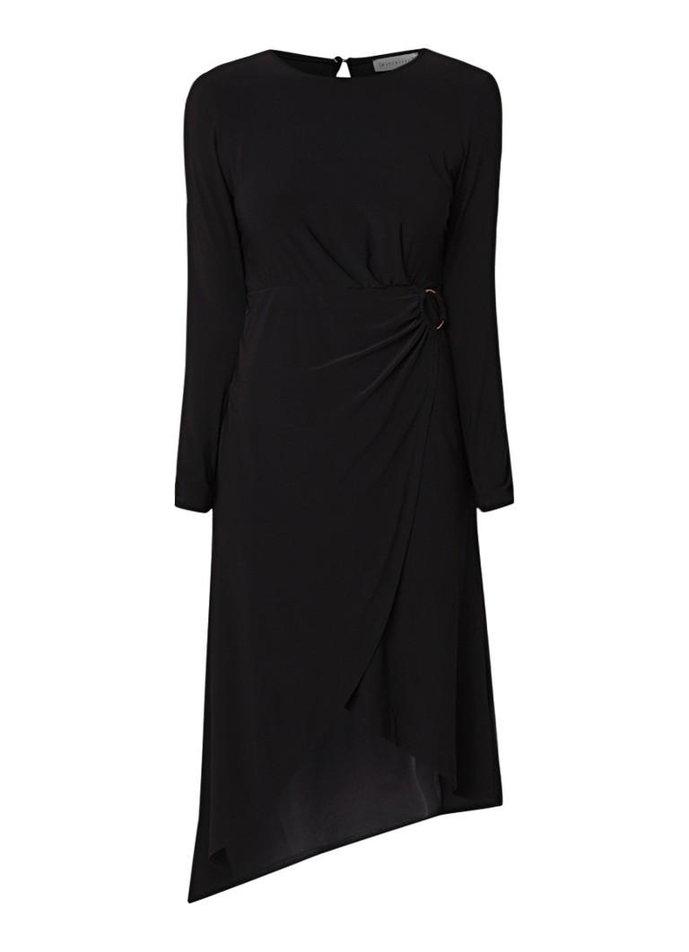 Warehouse O-Ring midi-jurk met overslag diepzwart