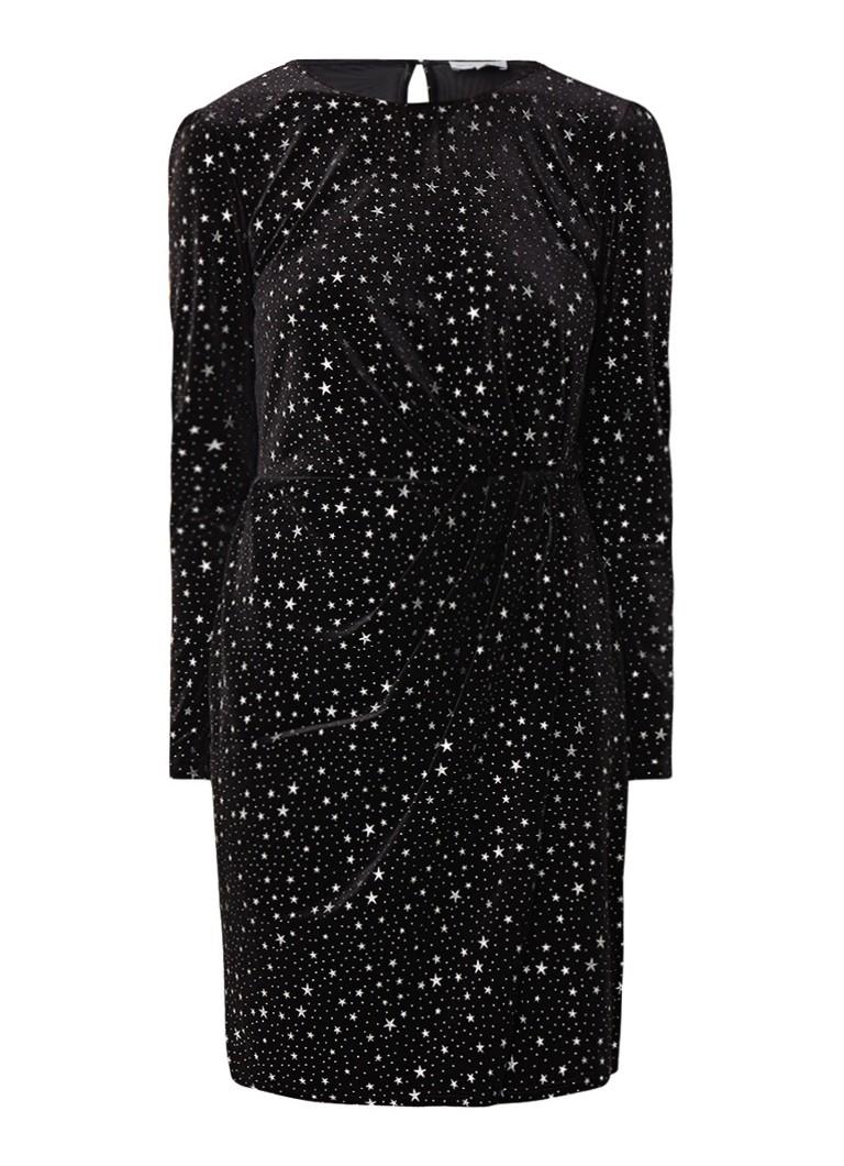 Warehouse Mini-jurk van fluweel met sterrendessin en plooidetail zwart