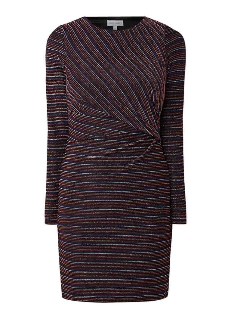 Warehouse Mini-jurk met lurex streepdessin en plooidetail zwart