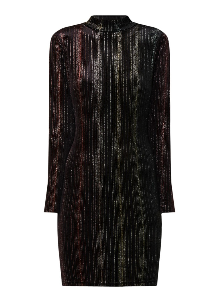 Warehouse Bodycon jurk van fluweel met lurex en lage col multicolor