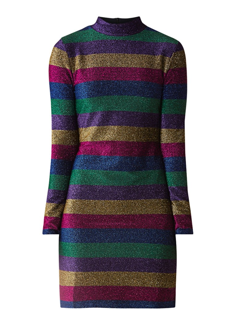 Warehouse Rainbow mini-jurk met lurex en streepdessin multicolor