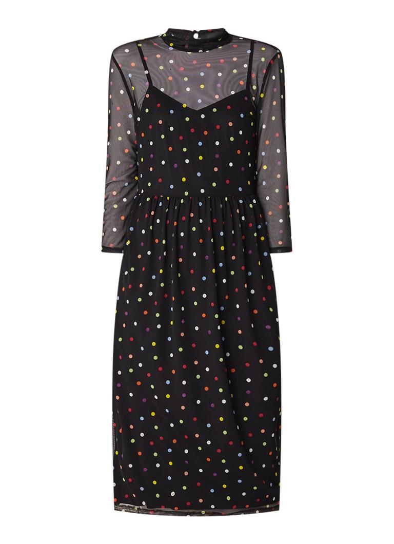Warehouse Rainbow midi-jurk van mesh met stippendessin zwart