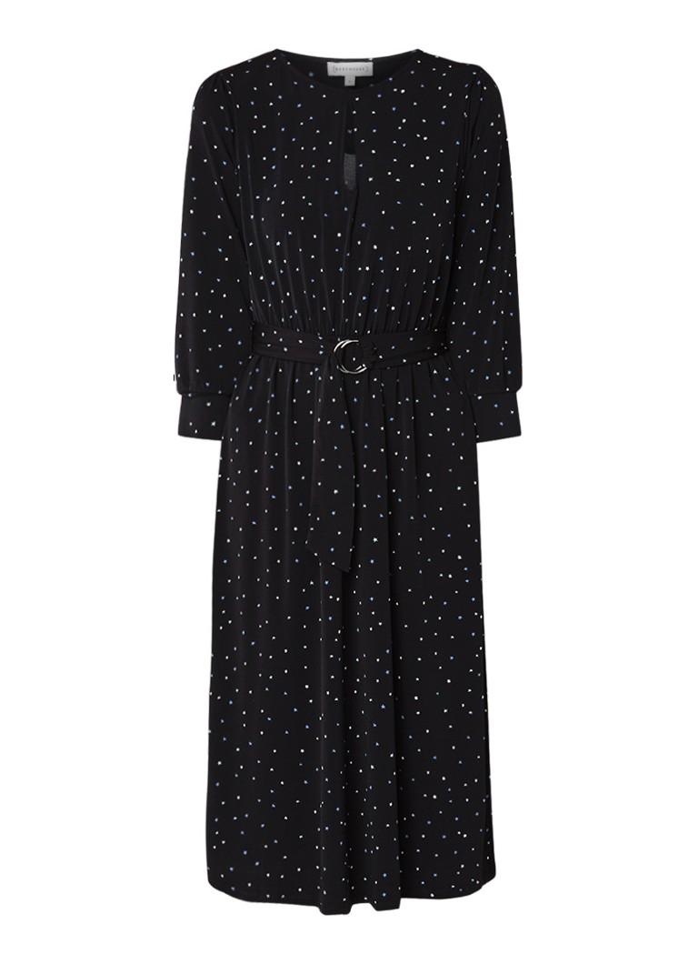 Warehouse Midi-jurk van jersey met sterrendessin zwart