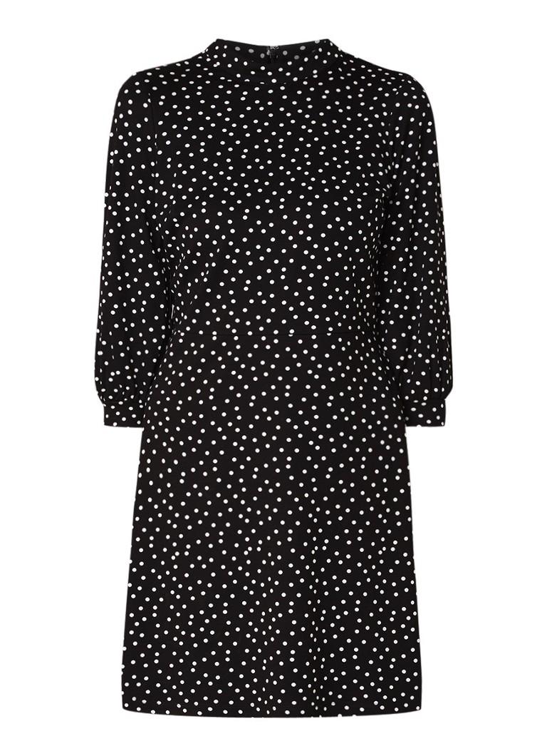 Warehouse Jersey jurk met ballonmouw en stippendessin zwart
