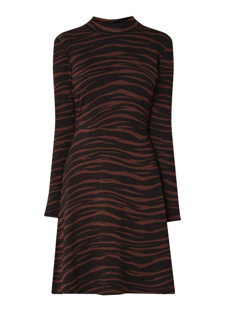 Warehouse Tiger A-lijn jurk van jersey met animal dessin bruin