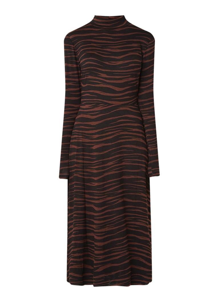 Warehouse Tiger maxi-jurk van jersey met animal dessin bruin