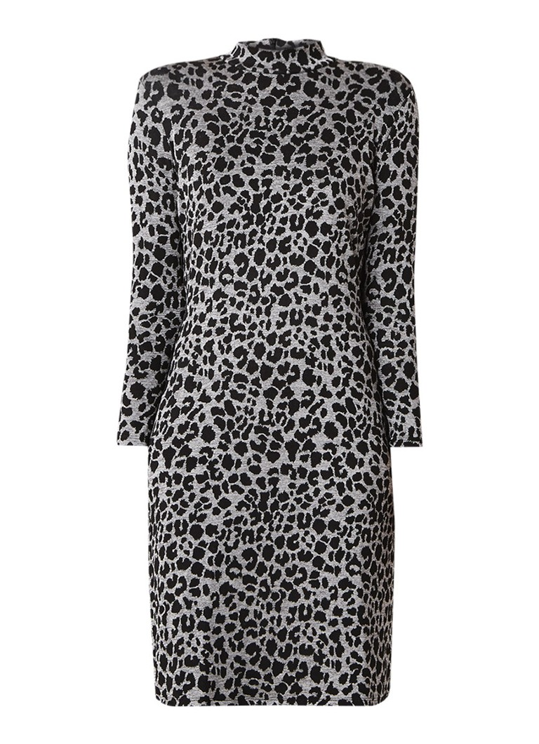 Warehouse Jersey midi-jurk met luipaarddessin grijs