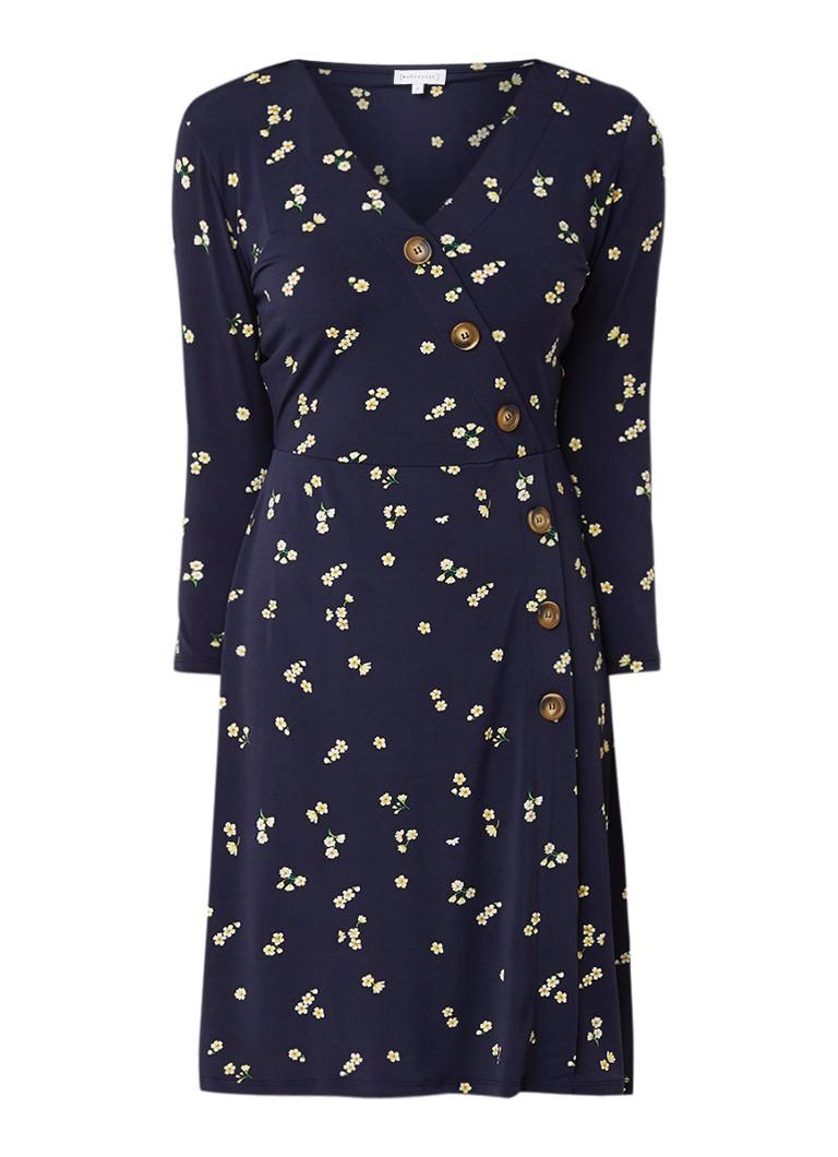 Warehouse A-lijn jurk met bloemendessin en decoratieve knopen donkerblauw