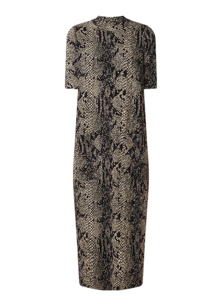 Warehouse Oversized midi-jurk met slangendessin en col bruin