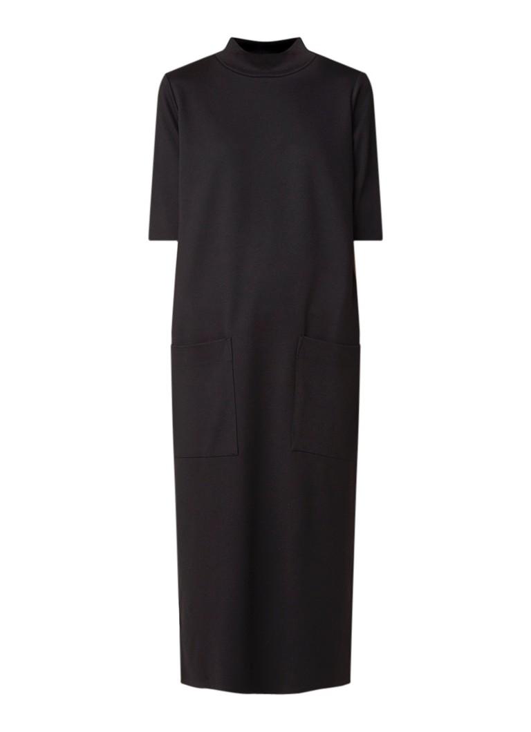 Warehouse Oversized midi-jurk van jersey met col zwart
