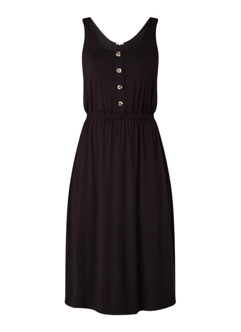 Warehouse Midi-jurk met decoratieve knopen diepzwart