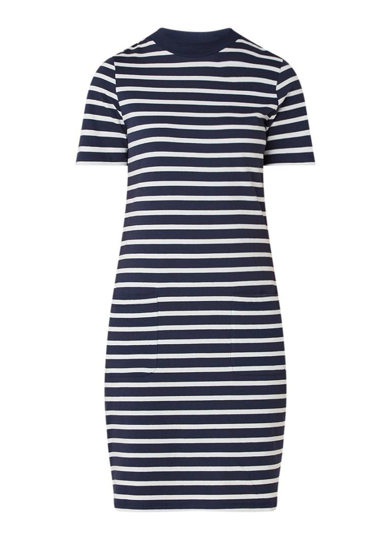 Warehouse T-shirt jurk van katoen met streepdessin donkerblauw