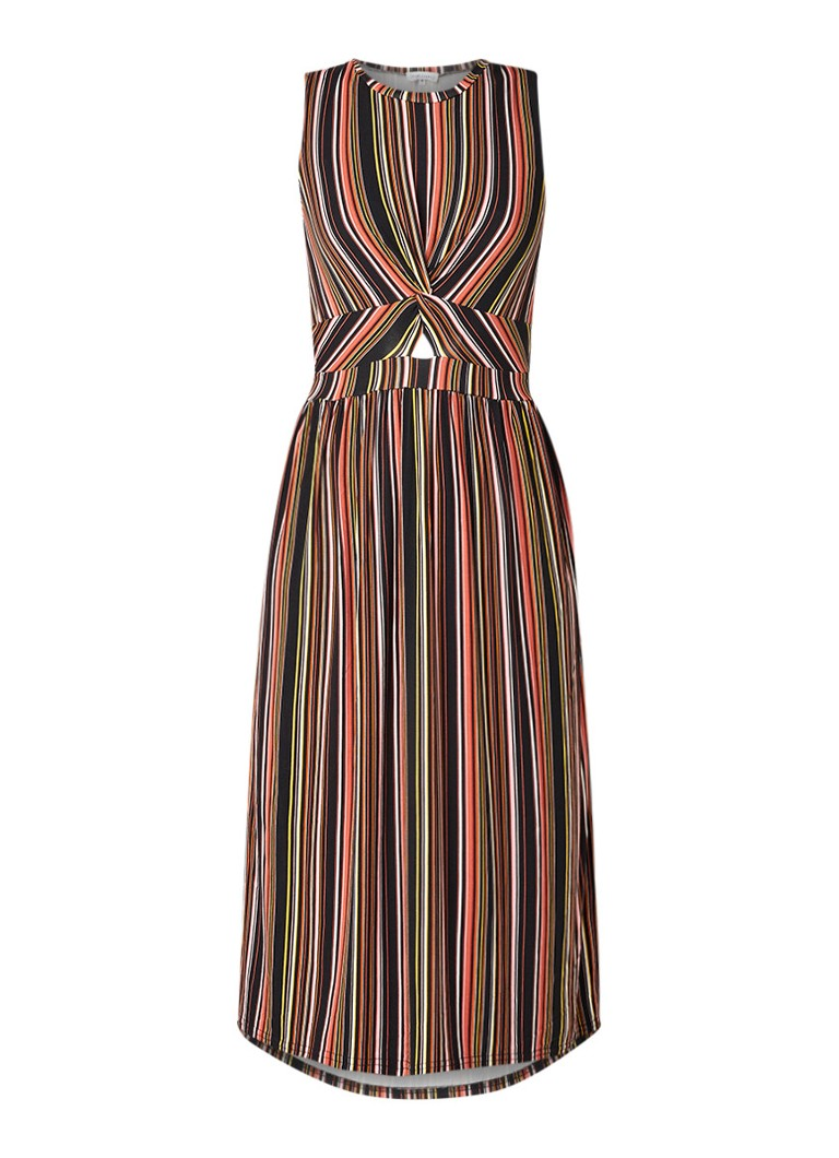 Warehouse Midi-jurk met streepdessin en knoopdetail multicolor