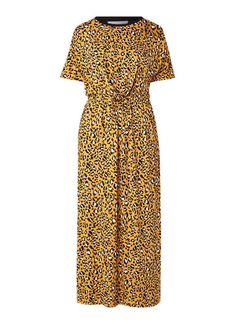 Warehouse Maxi-jurk van jersey met luipaarddessin geel